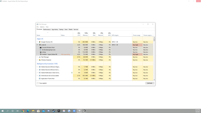Task Manager and SuperCollider Error