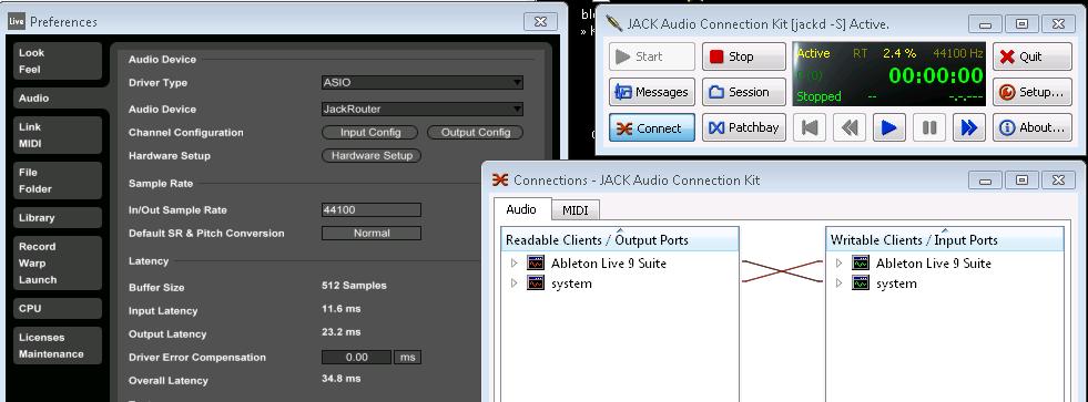 Windows 7 Jack2 64 bit SC 3 9 3 -> Ableton 9 - Questions - scsynth